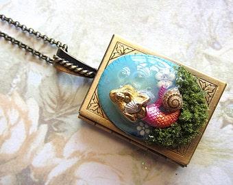 Mermaid Locket Necklace, Mermaid Necklace, Nautical Locket Necklace, Goddess Locket, Nautical Jewelry, Mermaid Jewelry, Mermaid Pendant