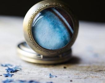 Planet Necklace - Uranus Outer Space Jewelry, Pocketwatch Locket Pendant - Galaxy Jewellery - Solar System, Milky Way - Jerseymaids Yugen