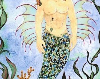 Under the Sea Merman Art, Mythical Creature, Poseidon Wall Art, Neptune Fantasy Artwork, Nautical Decor, Nautical Decor, Nautical Art Print