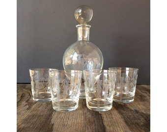 50s Bamboo Etching - Glass Decanter Set  - Decanter and Lowball Glasses