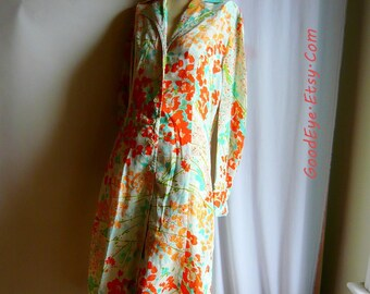 Vintage VERA Signature Shift Dress / size 6 8 10 medium / Floraal Mod ALine 60s 70s M Lady Bug / Orange Yellow Grren