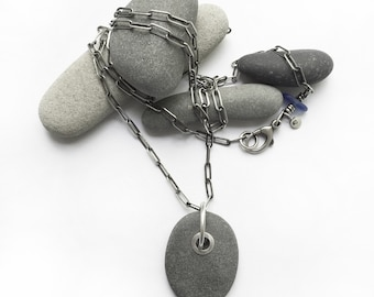Sterling Silver Tube Rivet Grommet Lake Erie Beach Stone Wishing Stone Pendant Necklace