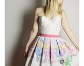 Vintage Miss Piggy SKIRT, Vintage Muppets Skirt, Long Ms Piggy skirt, HANDMADE Middy Skirt, womens skirt, Middy Kermit Skirt