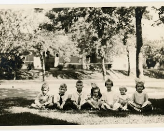 vintage photo 1919 Summer Darlings Children Line up in Park Grass Hairbows