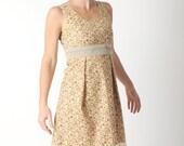 Floral cotton dress, Sleeveless beige floral dress, Womens cotton dress, Floral summer dress, Summer clothes, Size FR 38 / UK 10