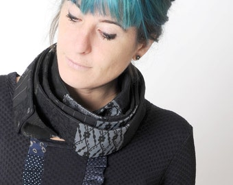 Black infinity scarf, Long black skinny patchwork scarf, Black womens scarf, Womens accessories, Gift for her, Thin black scarf, MALAM