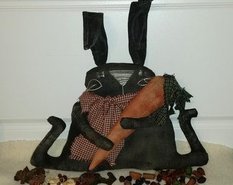 Primitive Black Bunny And Carrot