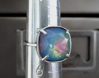 Opal Ghost Crystal Ring, Translucent Pastel Blue Seafoam Swarovski Crystal Ring, Silver Adjustable Ring, October Birthstone 4470