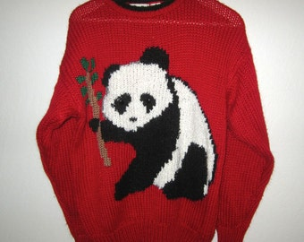 Panda Sweater - Women's Size MEDIUM - Vintage 1980's - By Carriage Court