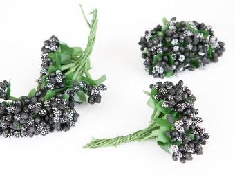 48 BLACK Flower Stamens for Floral Crowns or DIY Flowers - Bouquet Filler, Flower Crowns, diy Flower Supplies - ITEM 0156
