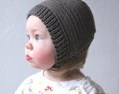 Knit Baby Herringbone Bonnet - Merino Wool Bonnet - Newborn Knit Hat - Knit Herringbone Hat - Childrens Knit Bonnet - Choose Your Color