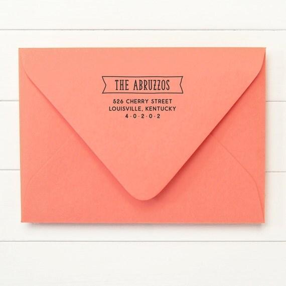 Return Address Stamp / Family Address Stamp / Self Inking Return Address Stamp  - PENNANT DESIGN - Housewarming Gift