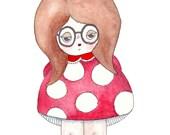 "Betty Shroomski Illustration Print - 8.5""x11"" or 5""x7"""