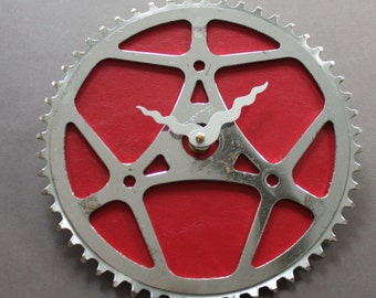 Bicycle Gear Clock - Red Vintage | Bike Clock | Wall Clock | Recycled Bike Parts Clock