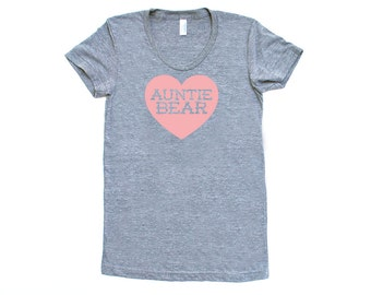 Auntie Bear with Heart TriBlend Heather Grey with Pink TShirt - Family Photos, Gift for Her, Announcement, Expecting, New Baby, New Aunt