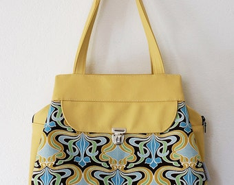 Delilah (yellow print, faux leather) ON CLEARANCE SALE 50% off