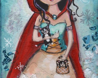 Kittens and snowflakes, Red Hood, Fantasy painting,  Snow fairy, PRINT, 8 x 10