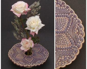 Handmade Pottery Vase . Ikebana Flower Arranger . Doily Lace Ceramic Vase