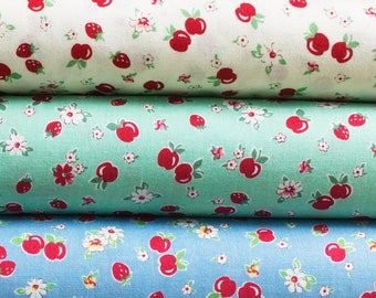 Lecien Retro 30's Strawberries & Apples Reproduction Feedsack Fabric - Choose your Color