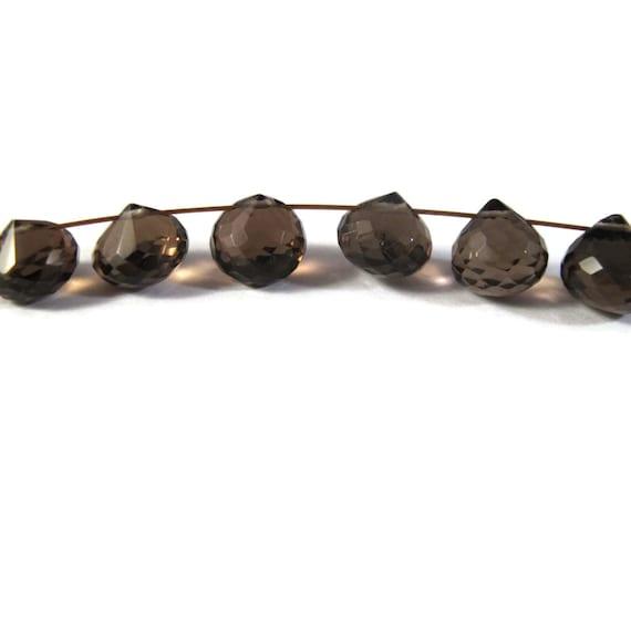 6 Gemstone Beads, Dark Brown Smoky Quartz Onion Shaped Briolettes, Six Beads for Making Jewlery (L-SQ7)