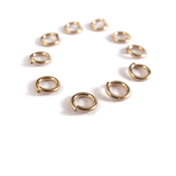 6mm Open Rings, 10 Hard Snap 14/20 Gold Filled Jump Rings, 18 Gauge, Jewelry Findings, Gold Rings, Connectors, Strong, Small Rings (H-GJH2)