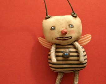 funny little bug art doll , sandy mastroni, odd monster bug , whimsical wall art ,shelf art,