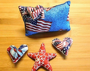 Primitive Fourth of July Patriotic Americana Pillow Star Bowl Filler Decorations