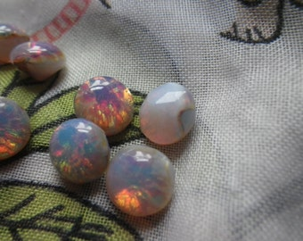 Pink Harlequin Opal 34ss or 7mm Round Glass Point Back Cabochons 8 Pcs