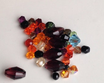 Etsy, Etsy Supplies, Etsy Beads, Autumnal Colors, Fall Beads, Swarovski Crystals, Bicone Crystals, Orange, Purple, Blue, Smokey Gray