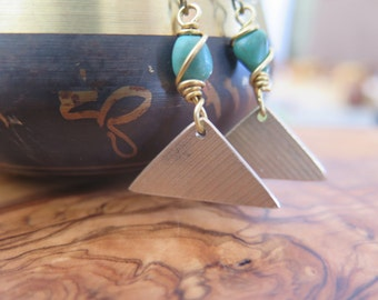 Musical Jewelry - Music - Made from Drum Cymbals - Reclaimed - Brass Hooks - Turquoise Triangle Musician Gift - Funky OOAK - Inbloom Jewelry