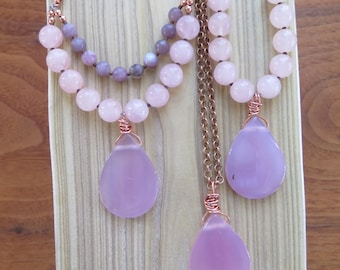 Choose your Necklace - Long Gemstone Boho - Pink Pendant - Purple Pastel Rose Quartz -  Beach Vibes - Bohemian Gypsy Jewelry- Multi Strand