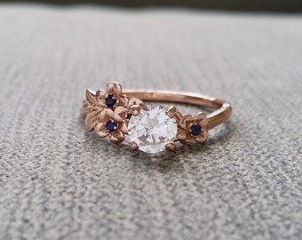 White Sapphire and Blue Sapphire Engagement Ring Gold Flower Delicate Bridal Dogwood Cherry blossom 14 K Gold Cluster Anniversary Branch
