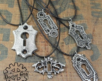 Keyhole Pendant Necklaces - 5 piece assortment - Great Wedding or Gift Idea - Handcrafted Pewter Jewelry Creations - Escutcheon Plates