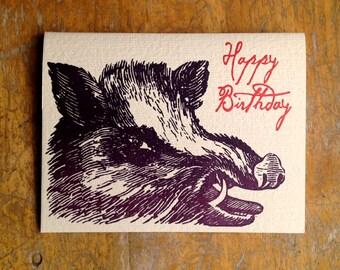 warthog birthday letterpress card wild boar pig