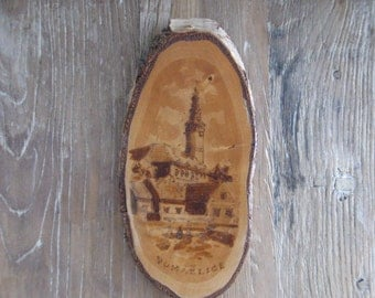 1960s Tourist Czech Burnt Wood Birch Plaque of Chodska Museum Domazlice