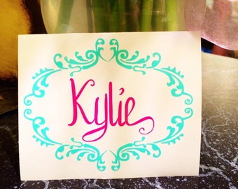 Fancy Scroll Frame with Personalized Name Decal!  Stick it on anything!!  The car, ice chest, children items.  Virtually Any Surface!!