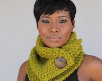LemonGrass Green Cowl - Crochet Scarf Neckwarmer From KnottyLoop