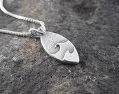 Handmade Minimalist Double Wave Sterling Silver Handmade Pendant