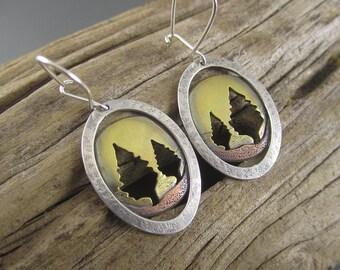 Handmade Golden Autumn Conifer Mixed Metal Silver, Copper and Brass Earrings