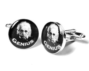 Einstein Cufflinks, Geek Cufflinks, Mens Cufflinks, Resin Cufflinks, Handmade Cufflinks, Albert Einstein, Scientist Cufflinks, Handmade