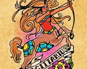 Old School Tattoo Zodiac Art SAGITTARIUS Archer Astrology Print 5 x 7, 8 x 10 or 11 x 14