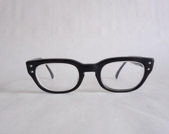 stylish frames for men's glasses wxsv  1950s Black Frame True Vintage Men's Eyeglass 50s Eyewear Glasses Unisex  Smaller Size Sunglasses Retro Modern Frames Midcentury B07