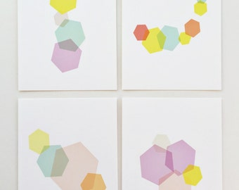 "Hex Art Prints. 4"" x 6"" Geometric prints.  Purple, yellow, coral, teal."