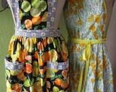 Two Cheery Yellow Vintage Bib Aprons Citrus Lemons Daffoldils Vera Neumann Housewife
