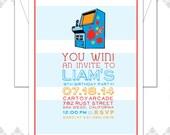 10 Arcade Birthday Party Invitations - Arcade Party - Arcade Birthday Invite - Modern Arcade Invitation - Kids Birthday Invite