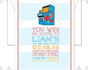 25 Arcade Birthday Party Invitations - Arcade Party - Arcade Birthday Invite - Modern Arcade Invitation - Kids Birthday Invite