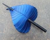 Hair Stick, Leather Leaf Barrette - Indigo Birch Hair Slide Or Shawl Pin