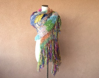 Floral Look. Stevie Nicks Shawl Designer Hand Knit this Gypsy Shawl Patchwork Shawl Hippie Shawl Fringe Shawl Bright Colors Multicolor Wrap
