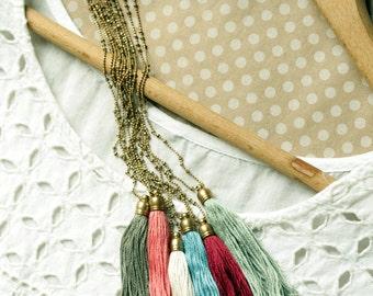 Tassel Necklace Set, Long Tassel Necklace Set, Colorful Tassel Necklaces, Tassel Pendant Necklaces