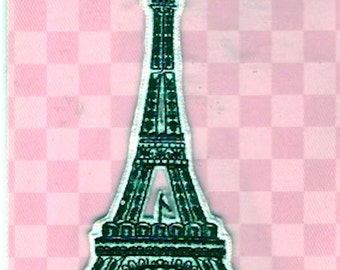 Eiffel Tower Patch Iron on  embroidered appliqué badge France Travellers gift Black White Paris Dritz